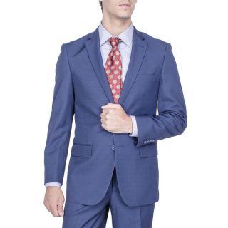 Mens Modern Fit Blue Birds eye 2 button Suit