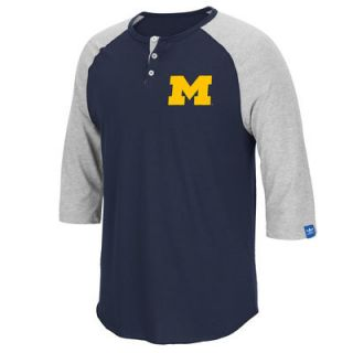 Michigan Wolverines adidas Originals Three Quarter Sleeve Raglan T Shirt   Navy Blue
