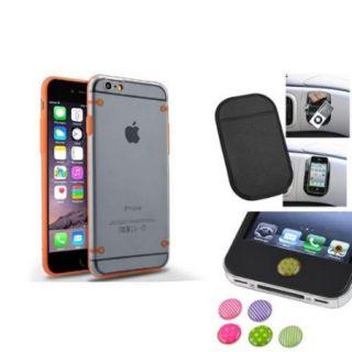 """Insten Orange TPU Trim Clear Hard Case+Anti Slip Mat+Sticker For iPhone 6S Plus / 6 Plus 5.5"""""""