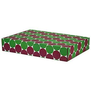 12.2(L)x 3(W)x17.8(H) GPP Gift Shipping Box, Classic Line, Green/Berry Polkadots , 48/Pack