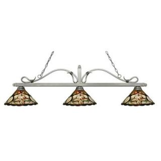 Filament Design Avery 3 Light Antique Silver Island Light with Tiffany Glass CLI JB051537
