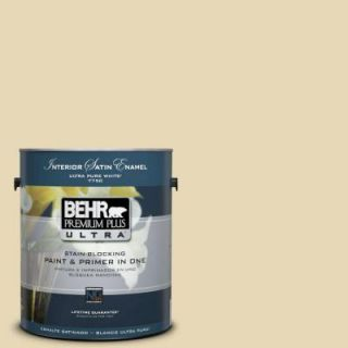 BEHR Premium Plus Ultra 1 Gal. #PPU8 13 Lemon Balm Satin Enamel Interior Paint 775001