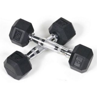 J Fit Pair of Rubber Coated Hex Dumbbells