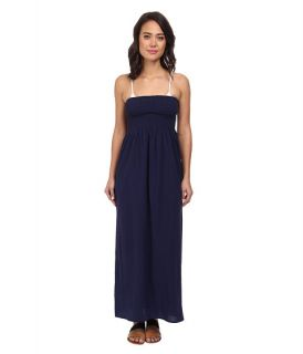 Tommy Bahama Crinkle Smocked Long Dress Cover Up Mare Navy