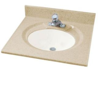 American Standard Astra Lav 25 in. Cultured Marble Single Basin Vanity Top in Sand Granite with White Basin CMA8254.673