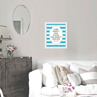 PTM Images A Girl Doesnt Need Giclée Framed Textual Art in Blue and