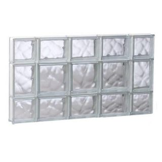 Clearly Secure 34.75 in. x 19.25 in. x 3.125 in. Wave Pattern Non Vented Glass Block Window 3620SDC