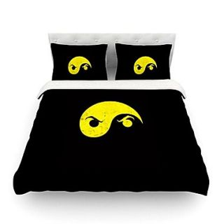 KESS InHouse Yin Yang Ninja by Frederic Levy Hadida Featherweight Duvet Cover; Queen