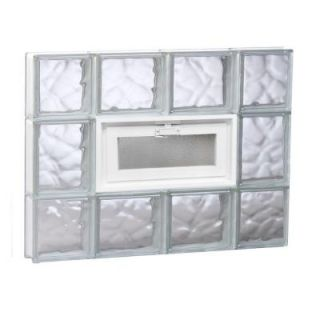Clearly Secure 27 in. x 19.25 in. x 3.125 in. Vented Wave Pattern Glass Block Window 2820VDC