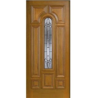 Main Door 36 in. x 80 in. Mahogany Type Arch Glass Prefinished Golden Oak Beveled Patina Solid Wood Front Door Slab SH 555 GO BPT