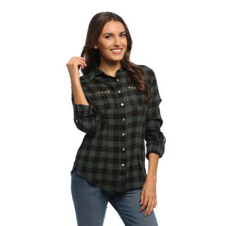 Womens Olive and Black Plaid Rolled Sleeve Shirt   Shopping