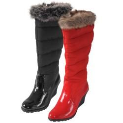 Journee Collection Womens NALA 43 Faux Fur Trim Wedge Boots